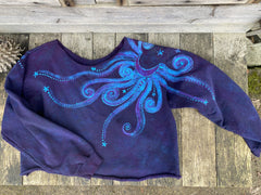 Flashdance Moonbeams Deep Blue Crop Sweatshirt Tops Batikwalla by Victoria Medium