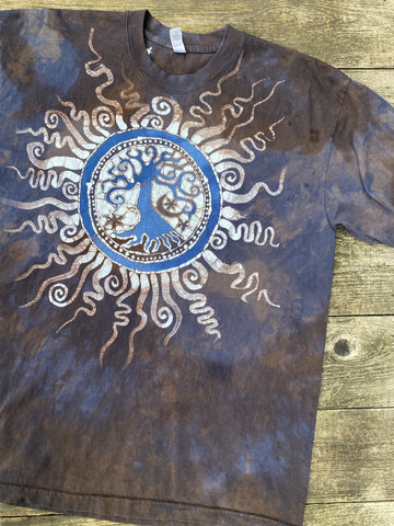 Oak Tree - Earth and Sky Handmade Batikwalla Tshirt - Size Large