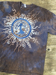 Oak Tree - Earth and Sky Handmade Batikwalla Tshirt - Size Large tshirt batikwalla
