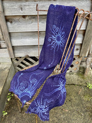Blue Moons of Midnight Handmade Batik Scarf in Woven Organic Cotton scarf batikwalla