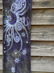 Rising From Ash - Purple Moon Hand Painted Organic Knit Fabric Scarf scarf batikwalla