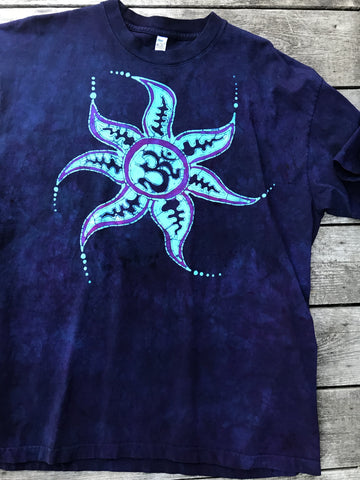 Deep Blue and Purple Om Sun Hand Painted Tshirt