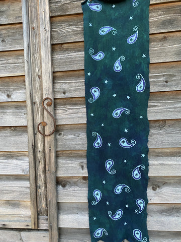 Teal Paisley Scarf - Hand Painted Organic Cotton Batik