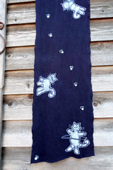Purple Cats Playing Hand Painted Organic Cotton Batik Scarf scarf batikwalla