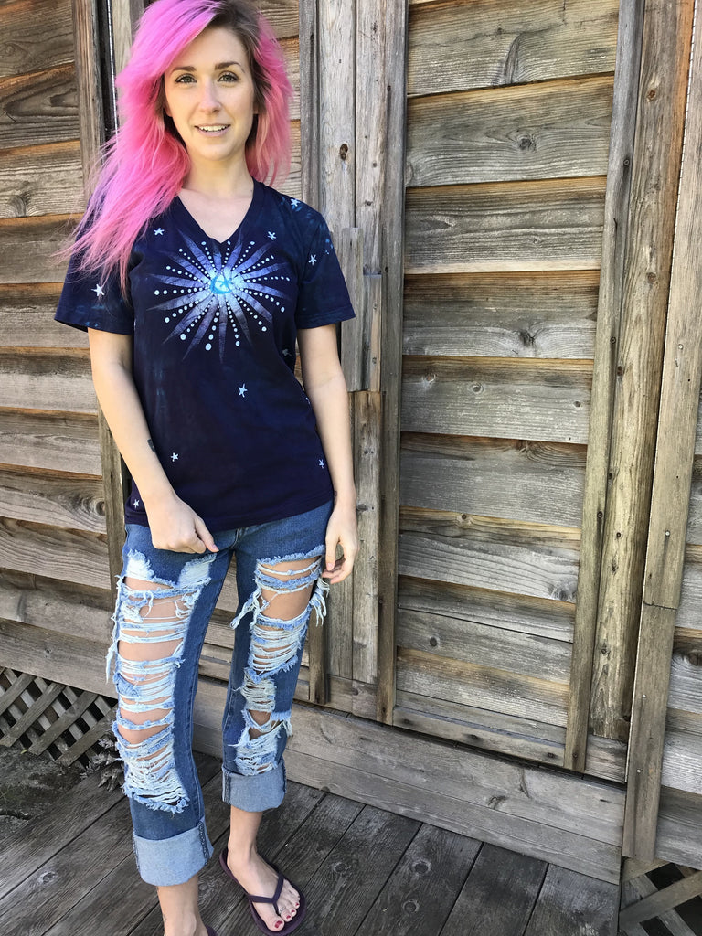 You Are Your Universe Vneck Tee - Size XS ONLY Batikwalla by Victoria