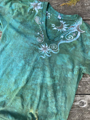 Moonbeams and Mint Stars Batik Vneck Tshirt Batikwalla by Victoria