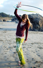 Dancing Green Handmade Batik Yoga Pants - Size Medium