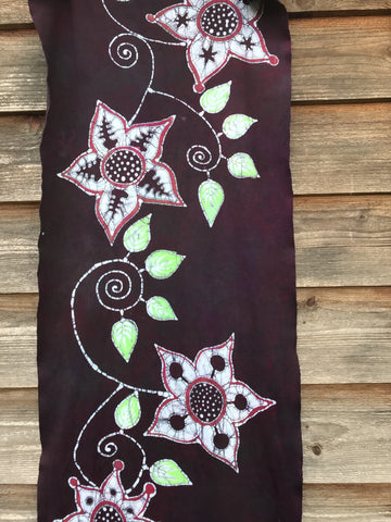 Flower Power With Neon Leaves - Hand Painted Organic Knit Fabric Scarf