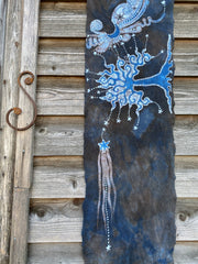 Blue Moon Oak Tree - Hand Painted Organic Cotton Batik Scarf scarf batikwalla