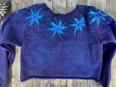 Flashdance Moonbeams Deep Blue Crop Sweatshirt Tops Batikwalla by Victoria