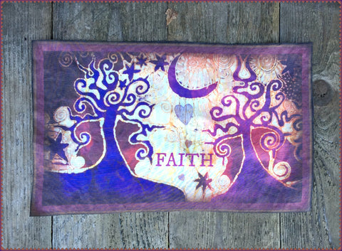 Faith and Trees Batik Fabric Print Patch
