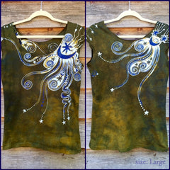 Dark Gold and Purple Moon Batik Top - Size Large - Batikwalla   - 7