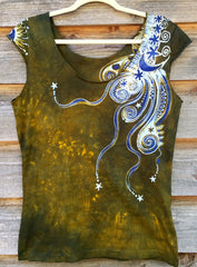 Dark Gold and Purple Moon Batik Top - Batikwalla   - 6