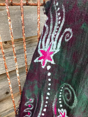 Tourmaline Moonbeams Handmade Batik Scarf in Organic Cotton