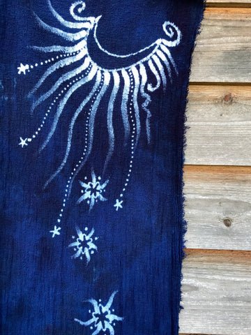 Blue Moons of Midnight Handmade Batik Scarf in Woven Organic Cotton