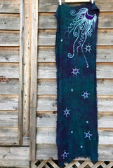 Teal and Purple Moonlight Handmade Batik Scarf in Woven Organic Cotton