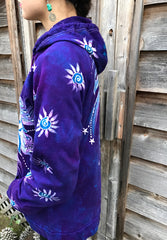 Purple Mandala Eclipse Organic Cotton Batik Hoodie - Unisex Size Large