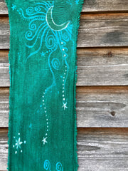 Midday Moon In A Springtime Meadow Handmade Batik Scarf in Organic Cotton