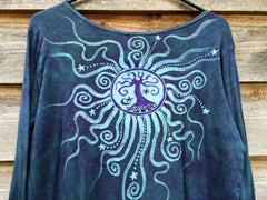 Tree Of Life in Teal and Purple Long Sleeve Batik Top - Size Medium - Last One - Batikwalla   - 7