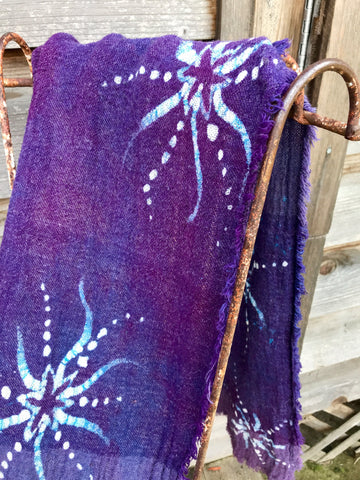 Purple Stars Light Up The Sky Handmade Batik Scarf in Organic Cotton - Long Length