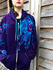 Deep Purple Midnight Moon Organic Cotton Batik Hoodie - Size 2X - SALE - SEE NOTE
