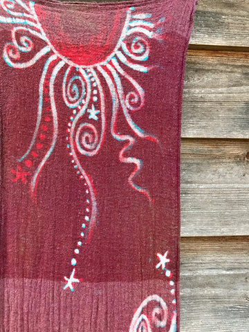 Dark Red Sun and Turquoise Stars Handmade Batik Scarf in Organic Cotton - Longer Length