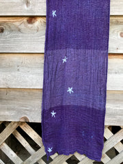Purple Moon and Stars Handmade Batik Scarf in Organic Cotton - Longer Length