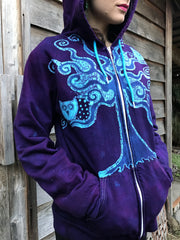 Owls In A Purple Tree Organic Cotton Batik Hoodie - Unisex Size Medium