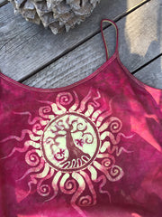 Red Roots Tree of Life Stretchy Batik Camisole - Batikwalla   - 1
