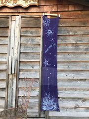 Purple Star Party Handmade Batik Scarf in Organic Cotton - Longer Length