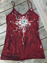 Red Harvest Moon Long Summer Camisole - Batikwalla   - 2