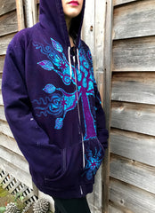 Purple Peace In The Blue Forest Organic Cotton Batik Hoodie