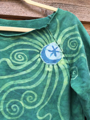 Teal Moon Long Sleeve Batik Cozy Shirt - Batikwalla   - 1