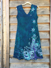 Teal and Purple Tree in the Forest of Life Organic Cotton Batik Dress - Batikwalla   - 5