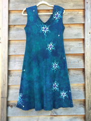 Teal and Purple Tree in the Forest of Life Organic Cotton Batik Dress - Batikwalla   - 6