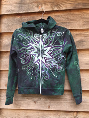 Teal and Purple Batik Star Hoodie - Batikwalla   - 1