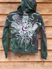 Teal and Purple Batik Star Hoodie - Batikwalla   - 3