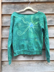 Teal Moon Long Sleeve Batik Cozy Shirt - Batikwalla   - 4