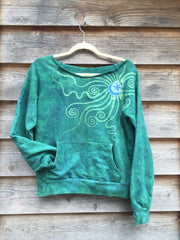 Teal Moon Long Sleeve Batik Cozy Shirt - Batikwalla   - 2