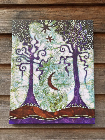 Two Trees Canvas Giclée Batik Print
