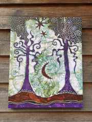 Two Trees Canvas Giclée Batik Print - Batikwalla   - 2