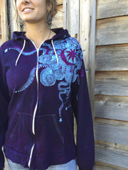 Deep Blue and Purple Moon Star Hoodie - Batikwalla   - 2