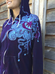 Deep Blue and Purple Moon Star Hoodie - Batikwalla   - 1