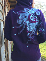 Deep Blue and Purple Moon Star Hoodie - Batikwalla   - 3