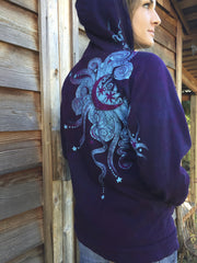 Deep Blue and Purple Moon Star Hoodie - Batikwalla   - 4