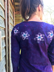 Blooming Iris Long Sleeve Batik Dress
