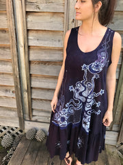 Summer Plum Solstice Organic Cotton Batik Dress