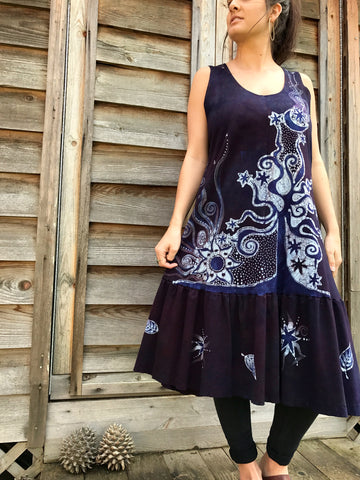 Summer Plum Solstice Organic Cotton Batik Dress  - Size Large