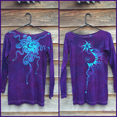Purple and Turquoise Center Star Long Sleeve Batik Top - Size Small - Batikwalla   - 6