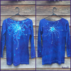 Brilliant Blue Center Star Long Sleeve Batik Top - Batikwalla   - 6